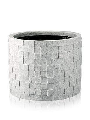 DKLiving Round Faux Granite Planter, Grey