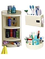 CiplaPlast Combo of Extra Large Corner Bathroom Cabinet, Tooth Brush Holder & Multi-Purpose Container - Ivory