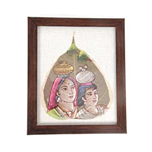 Creative Box Leaf Painting - Mother & Child On White Background