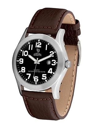 Dogma G7033 - Reloj de Caballero movimiento de quarzo con correa de piel negro / marrón