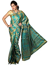 Mimosa Silk Saree With Blouse Piece (12-Grngld-Saff -Multy-Ananda)