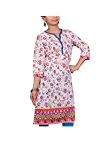 VGF 3/4 Sleeve Border Printed Cotton Kurti For Women-X-Small