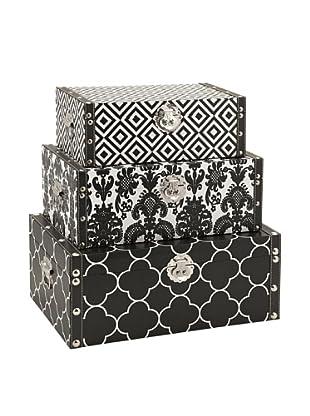 Set of 3 Essentials Storage Boxes, Black