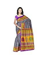 Sonal Trendz Black & Yellow Color Printed Polyester Cotton Saree