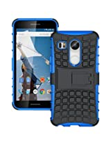 Chevron Tough Hybrid Armor Back Cover Case with Kickstand for LG Nexus 5X (Blue)