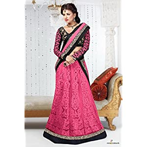 Net Lehenga Choli in Peach and Black Colour 18006 by Ninecolours