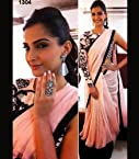 Sonam Kapoor Bollywood Designer Peach And Black Saree