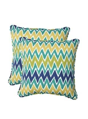 Pillow Perfect Set of 2 Outdoor Zulu Throw Pillows, Blue/Green