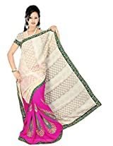 Chinco Embroidered Saree With Blouse Piece (510-C_Pink & Beige)