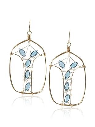 Misha London Blue Topaz Art Noveau Oval Earrings