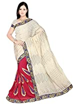 Chinco Embroidered Saree With Blouse Piece (509-B_Maroon & Beige)