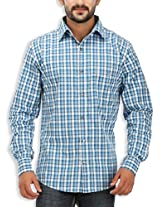 SPEAK Men's Blue Checkered Giza Cotton Casual Shirt
