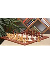 Chessbazaar Combo Of Dragon Knight Series Chess Pieces In Bud Rose / Box Wood & Red Ash Burl Maple Hi Gloss Finish Board