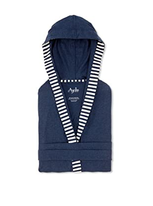 Nine Space Jersey Knit Robe with Striped Trim (Steel Blue)