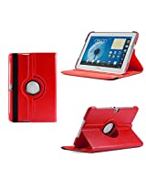Grabmore Rotating Leather Carry Case Cover for Samsung Galaxy Tab 2 Tab2 10.1 P5100 P5110 P510 (Red)