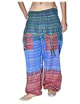 Famacart Women Tie dye Harem Pant Free Size Blue