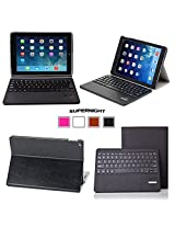 SUPERNIGHT Apple iPad Air 2 Case Cover , iPad Air 2 Keyboard [2nd Generation] 2014 Release Premium Slim Hard Shell Leather Case Cover Wireless Bluetooth Keyboard (Black), (With Smart Cover Auto Wake / Sleep) , 3 Year Manufacturer Warranty