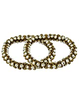The Jewelbox Antique Cz Studded 3d Gold Plated Stretchable Pair Of Anklet