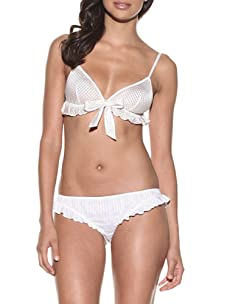 Samantha Chang Women's Silk Lattice Ruffle Soft Bra (Ivory)
