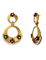 Traditional Ethnic Red Green Floral Gold Plated Dangler Earrings with Crystals for Women by Donna ER30110G