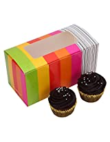 RELIABLE PACKAGING MULTICOLOUR CUPCAKE BOX/PASTRY BOX/ COOKIES BOX with WINDOW pack of 10