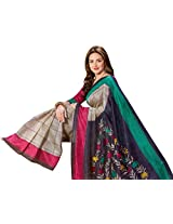 Brijraj Esha Deol, Cream Gray Bhagalpuri Silk Beautifull Printed Saree With Unstitch Blouse