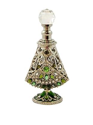 Hand-Set Crystal Flared Perfume Bottle (Green)