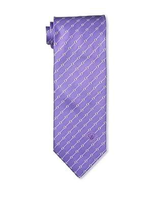 Versace Men's Striped Tie, Purple/White