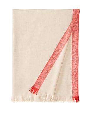 Belle Epoque Bordered Cashmere Throw, Beige/Red, 50