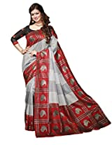 Red & Off White Colour Faux Bhagalpuri Semi Party Wear Shiny Paisley Printed Saree 13315