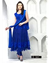 Blue Color Designer Blue Semi Stitched Anarkali Suit