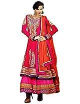 Shocking Pink Faux Georgette Anarkali Semi Stitched Churidar Kameez Set