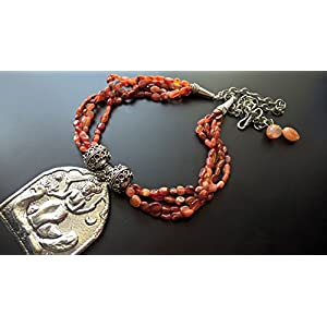Dreamz Jewels Multi String Tribal Necklace in Orange and Silver