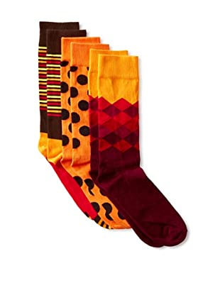 Happy Socks Men's Multi Socks (3 Pairs) (Red/Orange/Black)