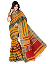 Araham Womens Blended Multi-Colored Saree With Blouse Piece