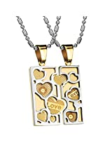 Via Mazzini 316L Stainless Steel Love Birds Crystal Couple Necklaces (NK0388)