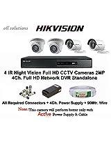 HIKVISION Full HD (2MP) 4CCTV Cameras & 4Ch.Full HD DVR Kit (All Accessories)