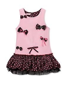 Beetlejuice London Girl's Azalea Dropped Waist Dress (Pink)