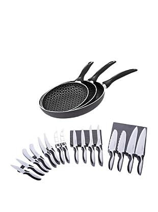 Santa Clara Set 3 Sartenes Bee Pan Negras + Magefesa Set 16 Cuchillos Revestimiento Cerámico