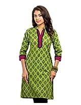 Almas Women's Cotton Regular Fit Kurti (ALM-KUR-300114_L, Green, Large)
