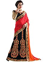 Manvaa black and red net embroidered casual saree