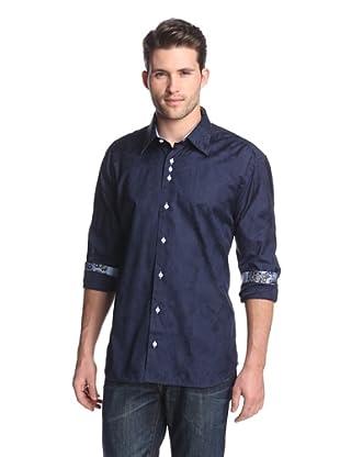 Cafe Bleu Men's Atom Floral Jacquard Sportshirt (Navy)