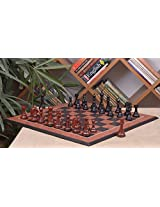 Chessbazaar Combo Of Shera Series Luxury Chess In Ebony/Bud Rose Wood & Black Anigre Red Ash Burl With Moulded Edges Board
