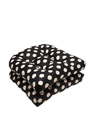 Waverly Sun-n-Shade Set of 2 Solar Spot Ebony Wicker Seat Cushions (Black/Cream)