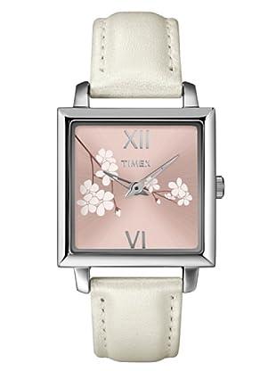 Timex T2N129. Reloj de Señora movimiento de cuarzo con correa de piel Blanco