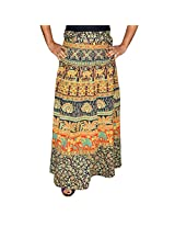 Marusthali Printed Cotton Elephant & Peacock Wrap Around Skirt