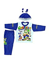 Boogie Woogie Bowo-11454-B Boy's Cotton Top & Bottom Set With Cap - (Blue) - (Size - XL)