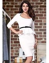 White Long Sleeve Belted Peplum Midi Dress