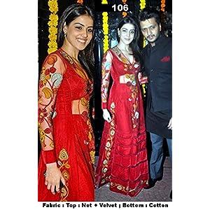 Genelia Gown Anarkali Suit, Red