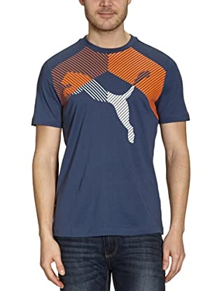 Puma T-Shirt Graphic (dark denim-vibrant orange)